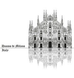 milan cathedral in italy with shadow vector image