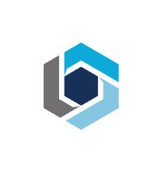 modern hexagon rotate letter q vector image