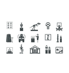 museum historical silhouette set exhibitions of vector image