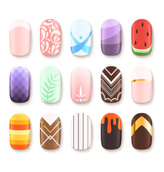 Nail designs colored template of finger art vector