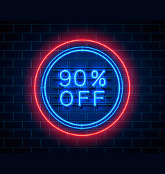 neon 90 off text banner night sign vector image