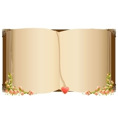 Old open book with bookmark in heart shape Retro vector image