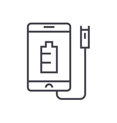 Phone charging linear icon sign symbol vector