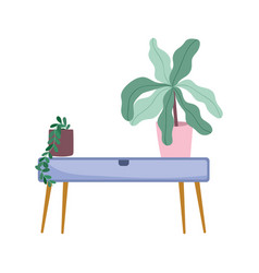potted plants on wooden table decoration isolated vector image