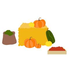 Products autumn season hay with pumpkin veggie vector