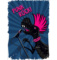 Punk dinosaur with a microphone rock music poster vector