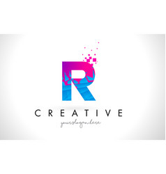 R letter logo with shattered broken blue pink vector
