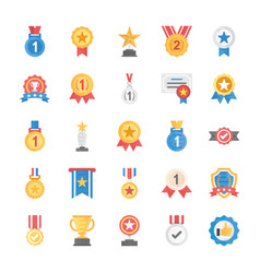 Rewards and medals flat icons vector