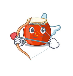Romantic chinese drum cupid cartoon character vector