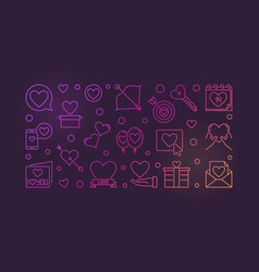 saint valentines day outline colorful vector image