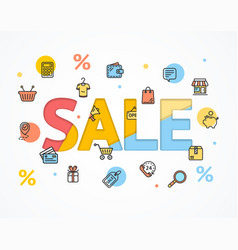 Sale concept icon flat and paper art vector