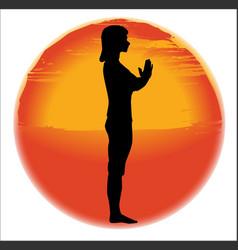 salutation yoga pose vector image
