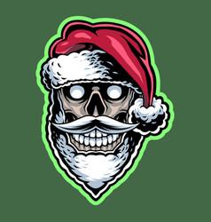 santa skull head mascot logo design vector image