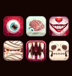 Scary app icons on black background vector