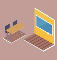 School desk side view and blackboard 3d vector