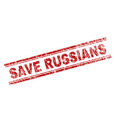 scratched textured save russians stamp seal vector image