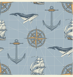 Seamless pattern on travel theme in vintage vector