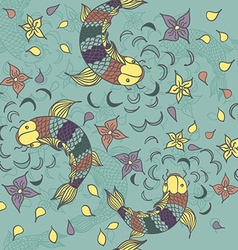 seamless pattern with hand drawn fishes flowers vector image
