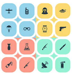 Set of 16 simple military icons can be found vector