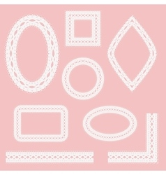 Set of lacy frames ribbons and corners vector image