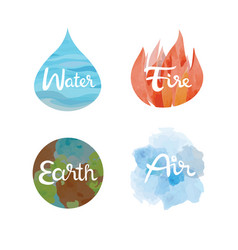 Set of the four nature elements icons vector