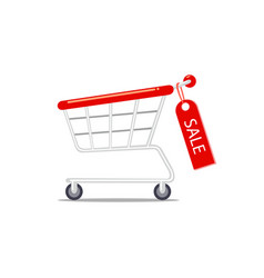 shopping cart with hanging sale label vector image