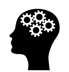 silhouette of a man head with a picture of the m vector image