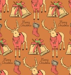 Sketch fancy reindeer in vintage style with bell vector image