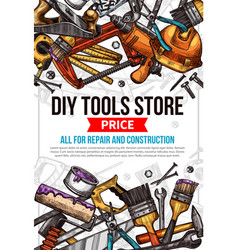 Sketch poster of home repair work tools vector