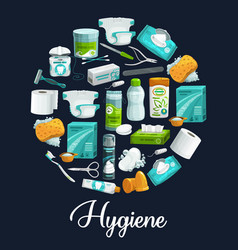 soap sponge toothpaste hygiene product icons vector image
