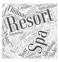 Spa Resorts in St Thomas Word Cloud Concept vector