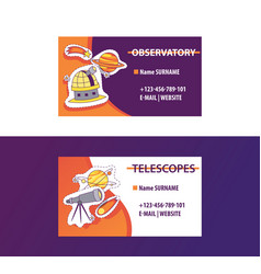 Space science business card for observatory vector