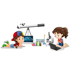 Two girls and different school materials vector