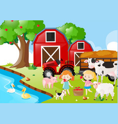 Two girls and farm animals by the river vector