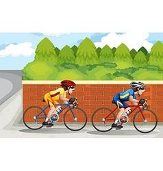 Two men biking vector