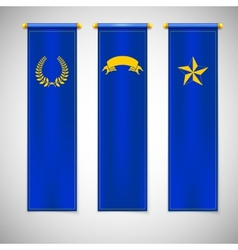 Vertical blue flags with emblems vector image