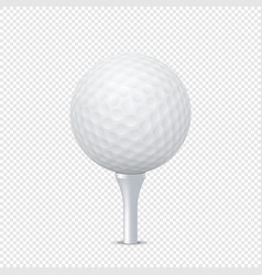 White realistic golf ball template on tee vector