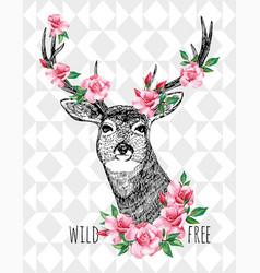 Wild free deer vector