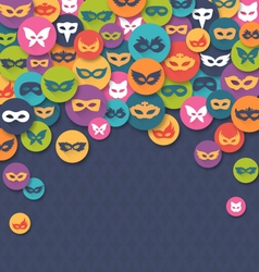 Carnival Masquerade Card with Colorful Masks on vector image