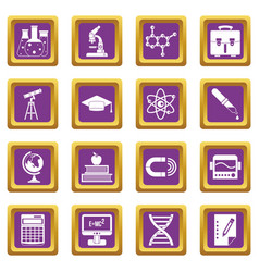 education icons set purple vector image vector image