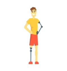 Guy WithProsthetic Leg And Arm Young Person With vector image