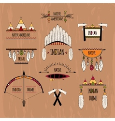 Tribal labels set colored vector image