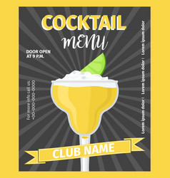 cocktail menu black vintage template vector image vector image
