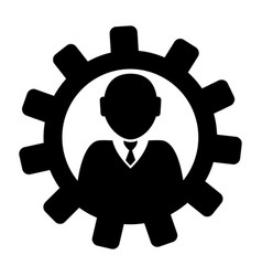 gear with a businessman icon vector image vector image