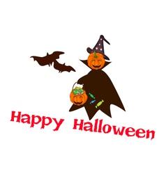 Halloween Pumpkin with Candy Basket vector image