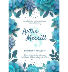 invitation with floral elements turquoise vector image vector image