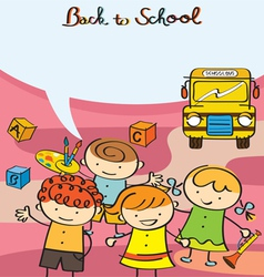 Kids Characters back to School with Text Balloon vector image vector image