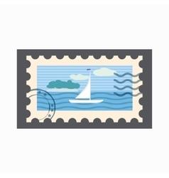Marine stamp icon cartoon style vector image