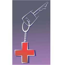 red cross key vector image vector image