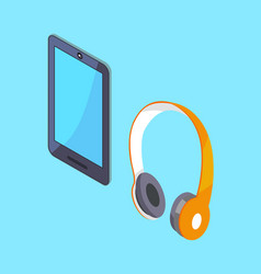 wireless headphones and tablet 3d icons vector image vector image